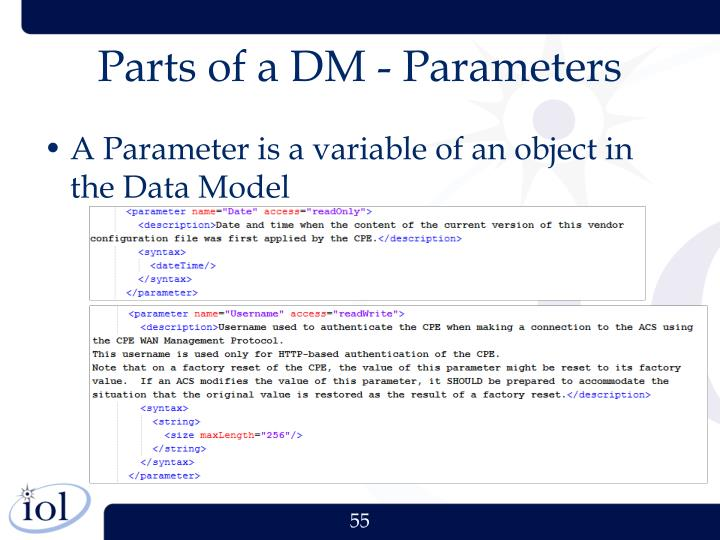 Parts of a DM - Parameters