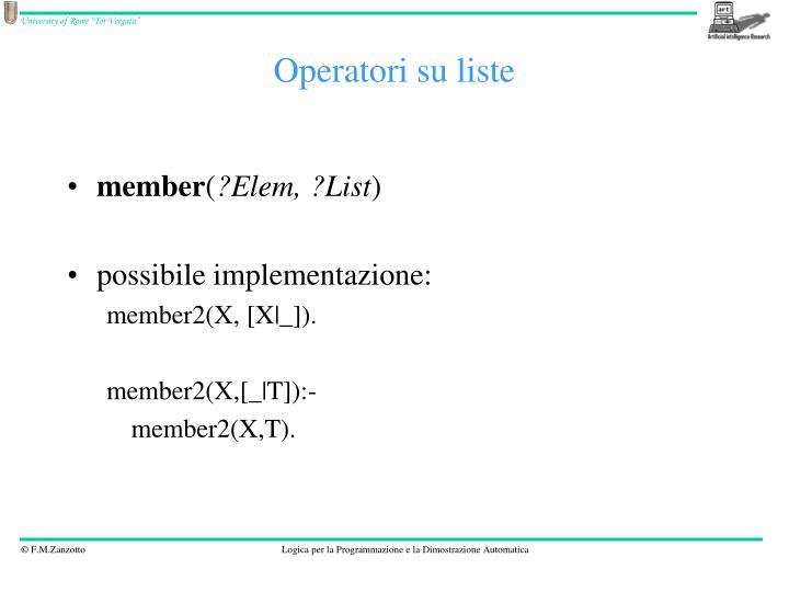 Operatori su liste