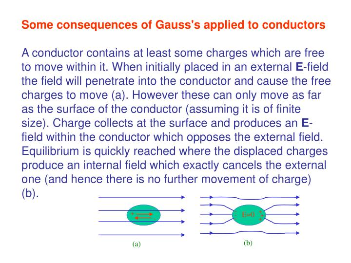 Some consequences of Gauss's applied to conductors