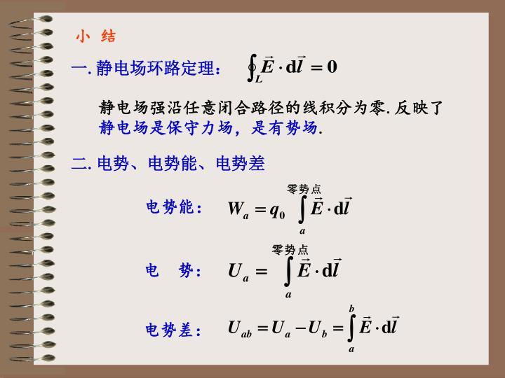 一.静电场环路定理: