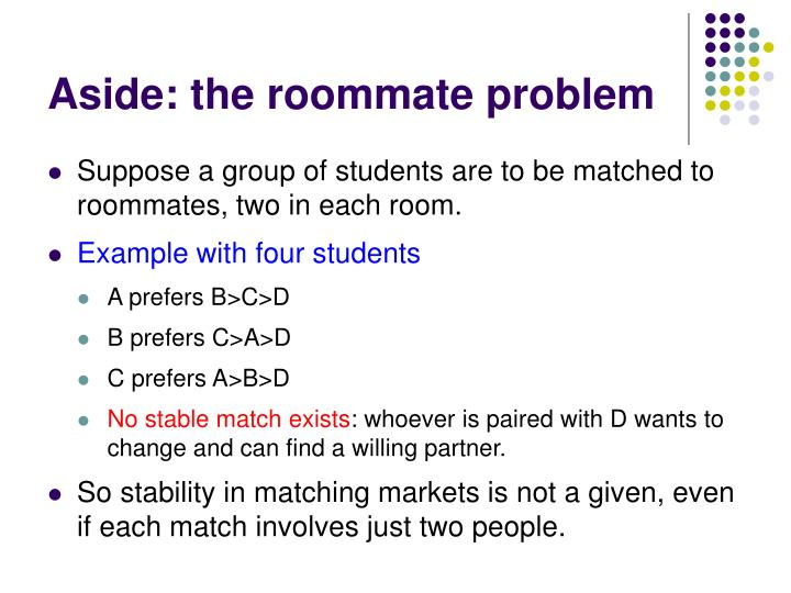 Aside: the roommate problem