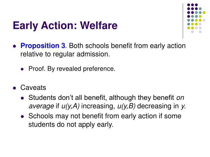 Early Action: Welfare
