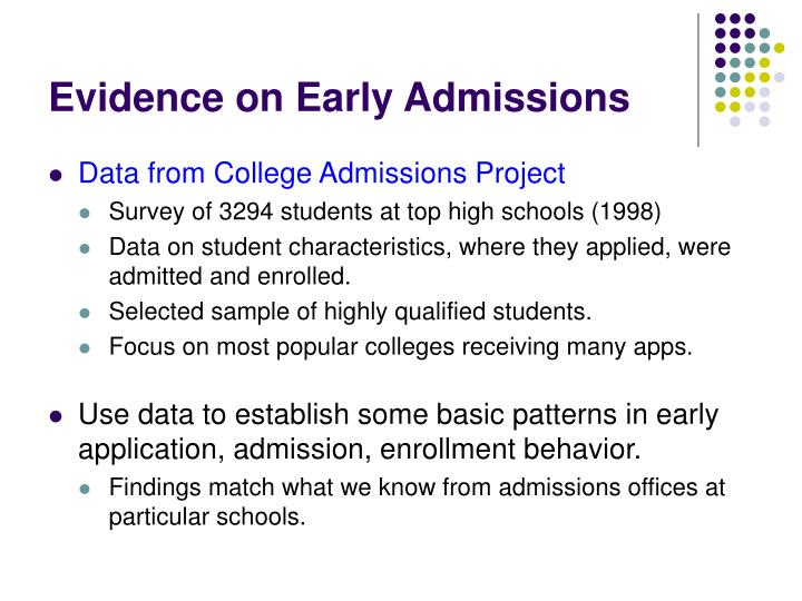 Evidence on Early Admissions