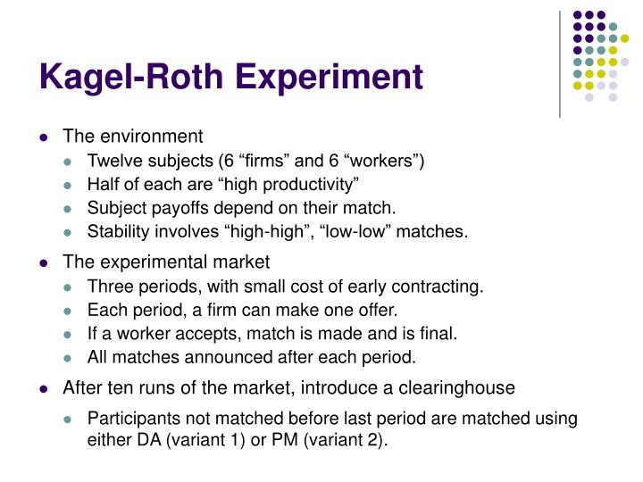 Kagel-Roth Experiment