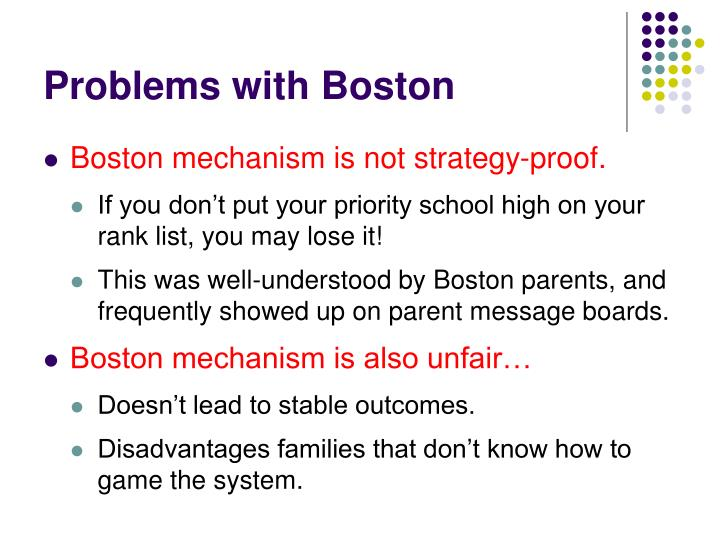 Problems with Boston