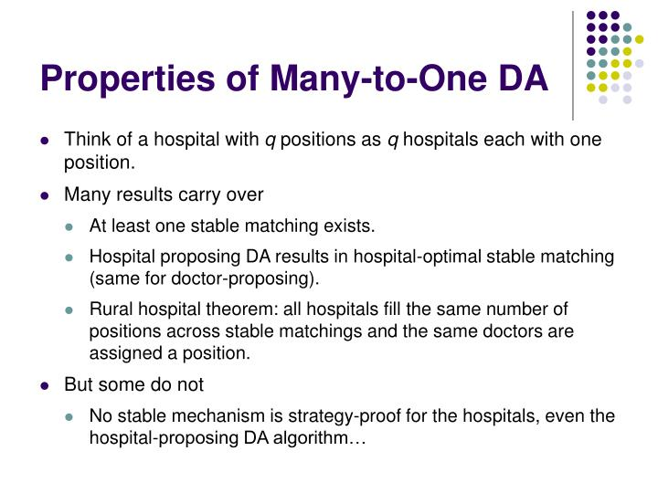 Properties of Many-to-One DA