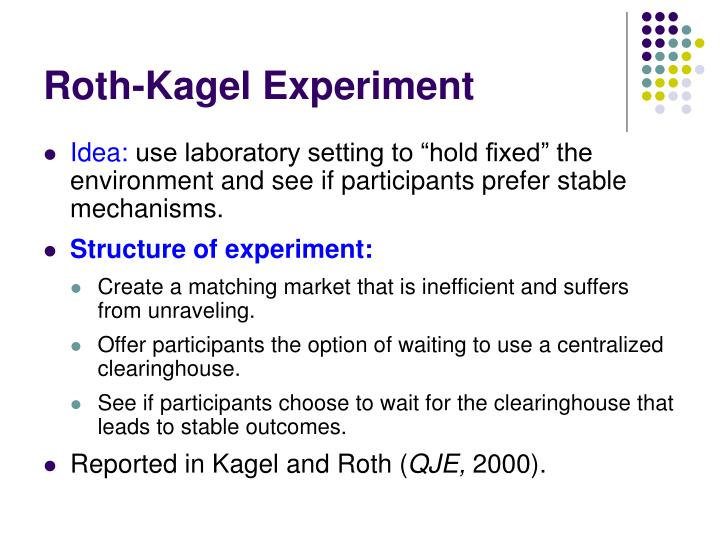 Roth-Kagel Experiment