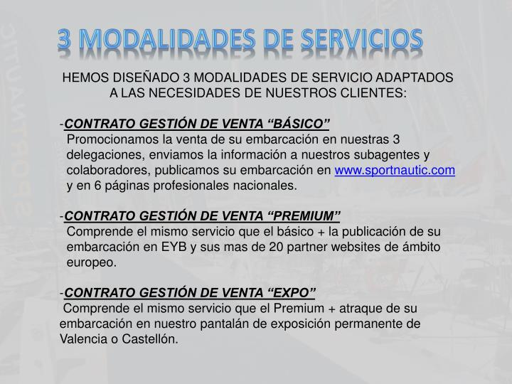 3 MODALIDADES DE SERVICIOS