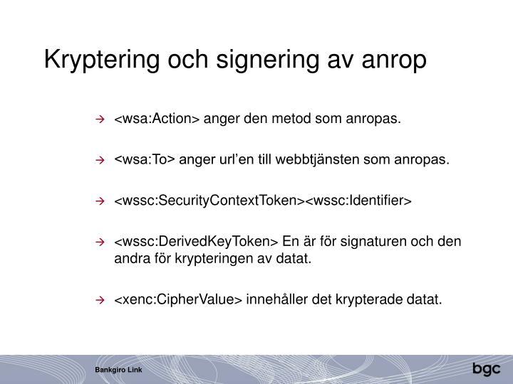 Kryptering och signering av anrop