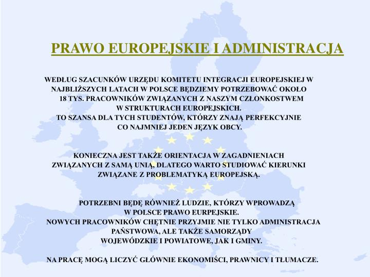 PRAWO EUROPEJSKIE I ADMINISTRACJA