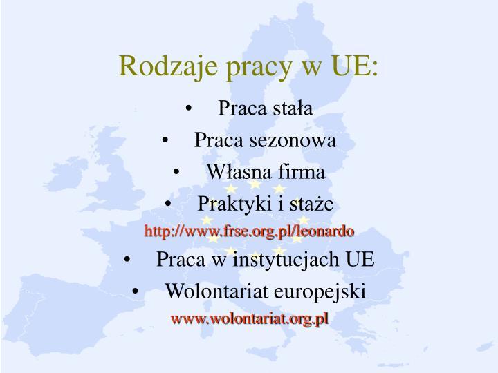 Rodzaje pracy w UE: