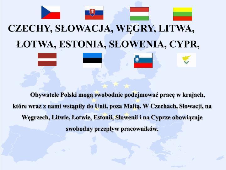 CZECHY, SŁOWACJA, WĘGRY, LITWA, ŁOTWA, ESTONIA, SŁOWENIA, CYPR,