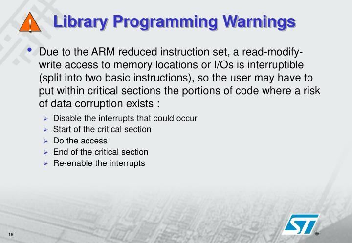 Library Programming Warnings