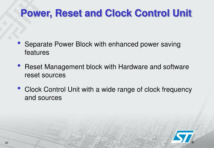 Power, Reset and Clock Control Unit