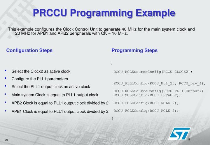 PRCCU Programming Example