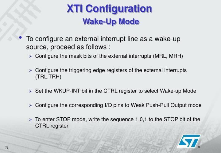 XTI Configuration