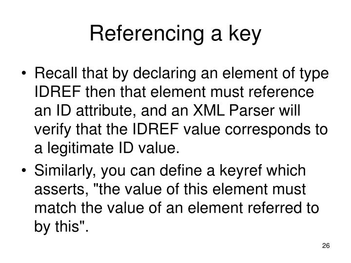 Referencing a key