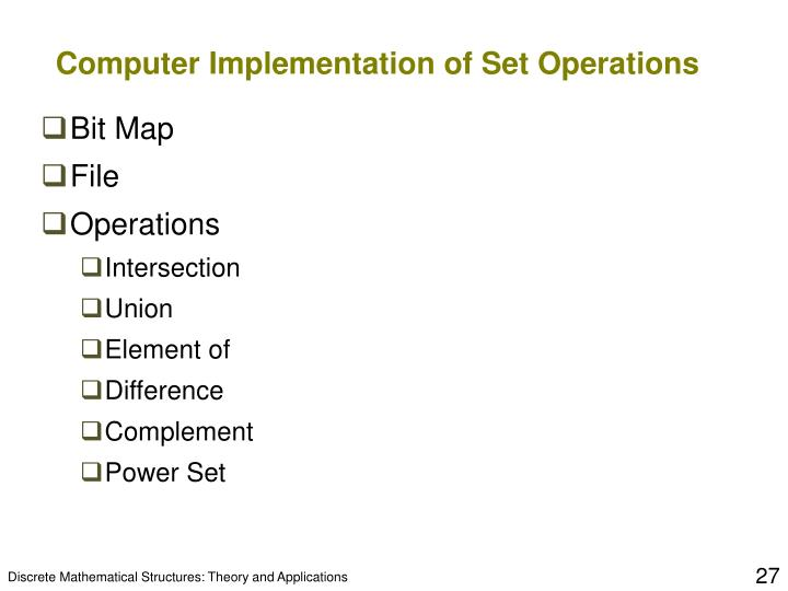 Computer Implementation of Set Operations