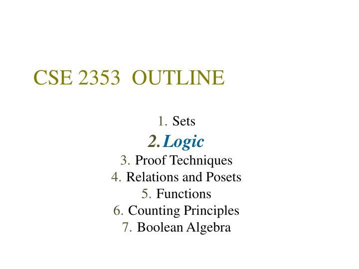 CSE 2353  OUTLINE