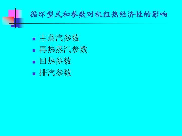 循环型式和参数对机组热经济性的影响