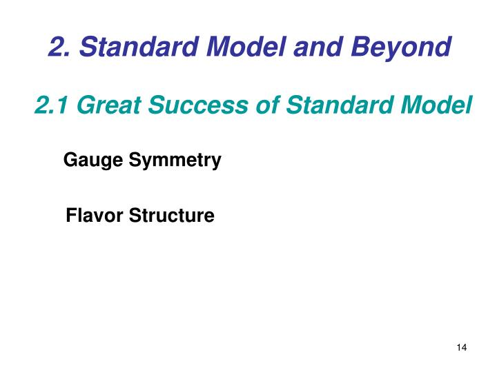2. Standard Model and Beyond