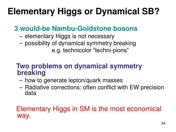 Elementary Higgs or Dynamical SB?