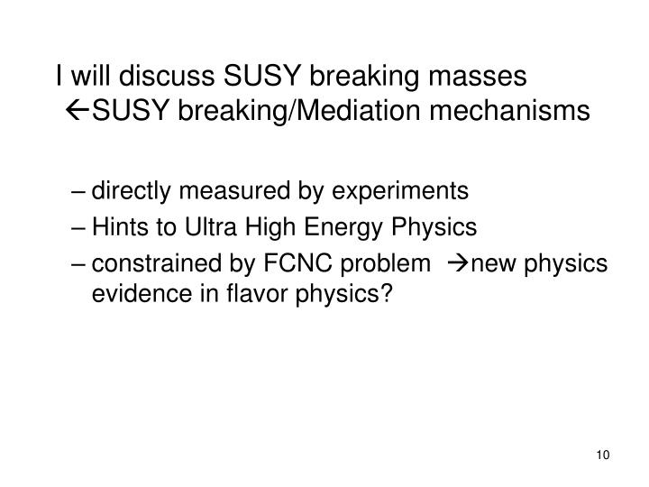 I will discuss SUSY breaking masses