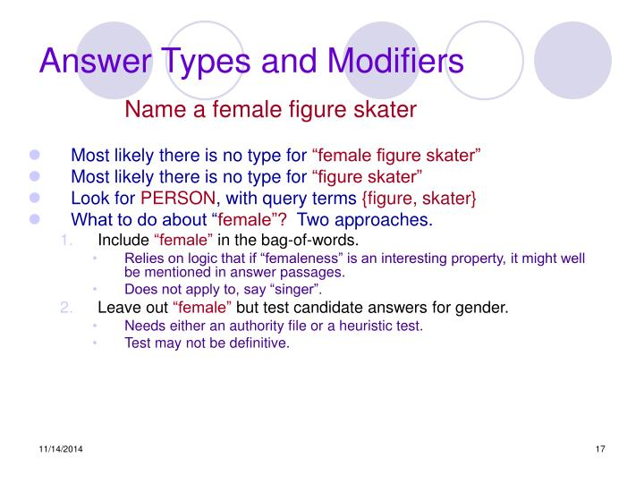 Answer Types and Modifiers