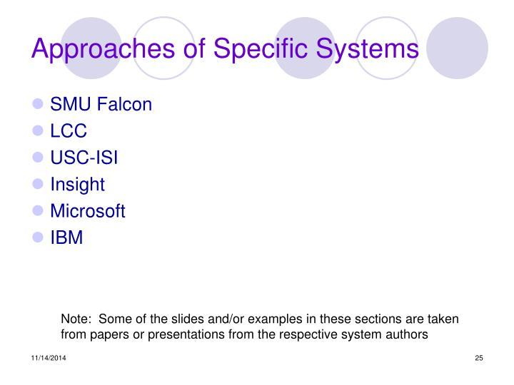 Approaches of Specific Systems