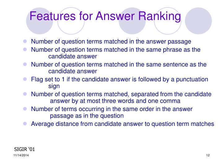 Features for Answer Ranking