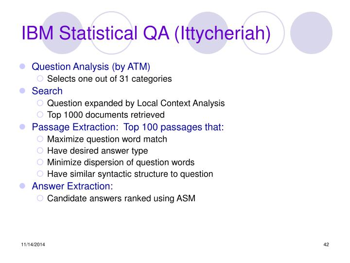 IBM Statistical QA (Ittycheriah)