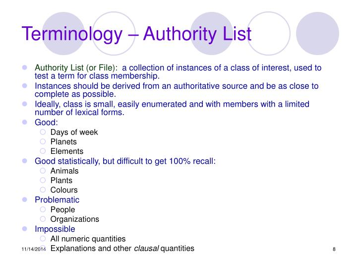 Terminology – Authority List