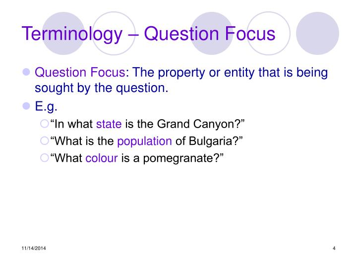 Terminology – Question Focus
