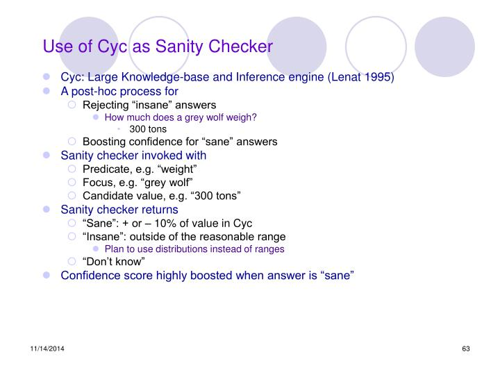 Use of Cyc as Sanity Checker