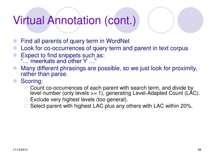 Virtual Annotation (cont.)