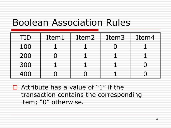 Boolean Association Rules