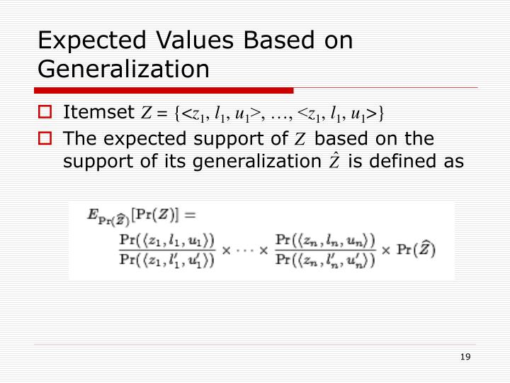 Expected Values Based on Generalization