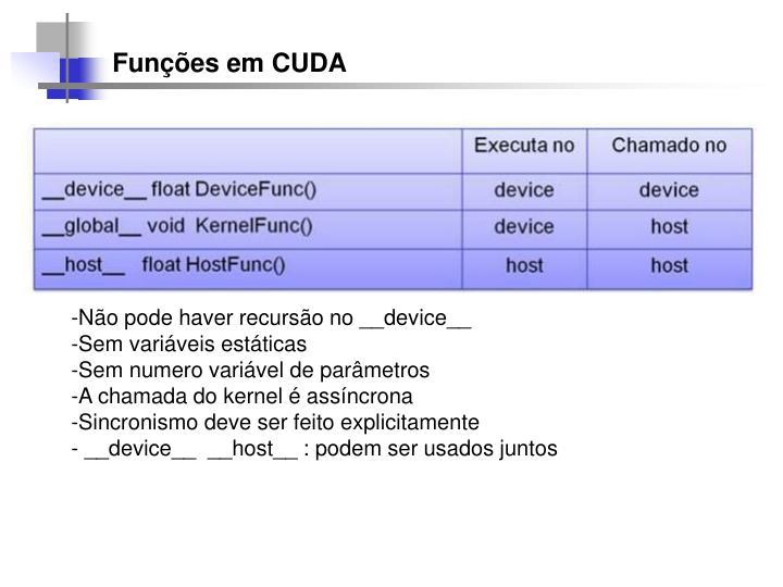 Funções em CUDA