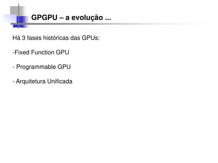 GPGPU – a evolução ...