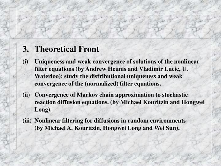 Theoretical Front