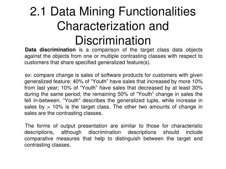 2.1 Data Mining Functionalities