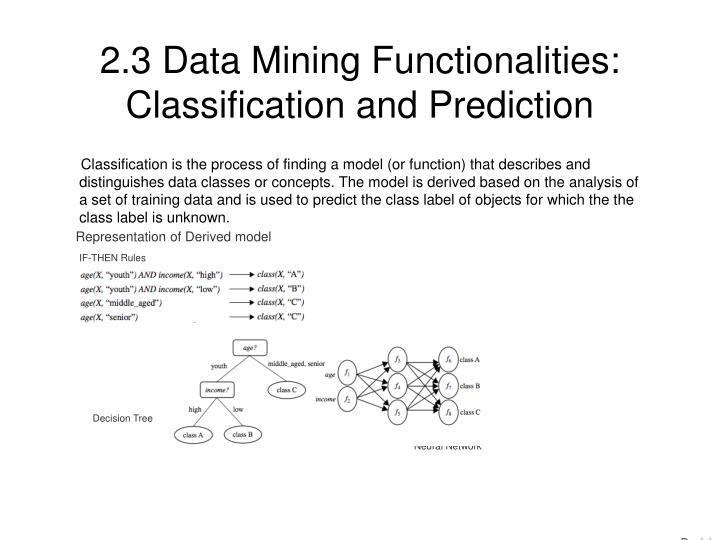 2.3 Data Mining Functionalities: