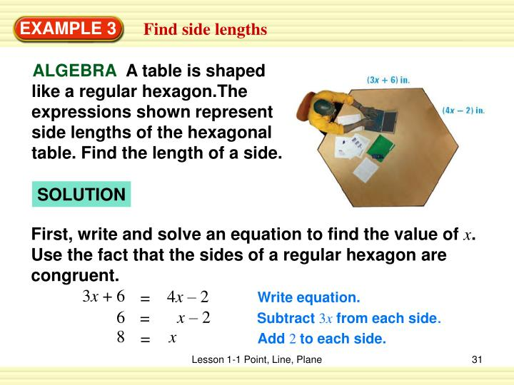 A table is shaped like a regular hexagon.The expressions shown represent side lengths of the hexagonal table. Find the length of a side.