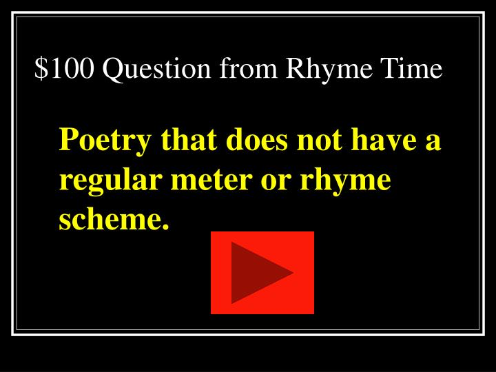 $100 Question from Rhyme Time