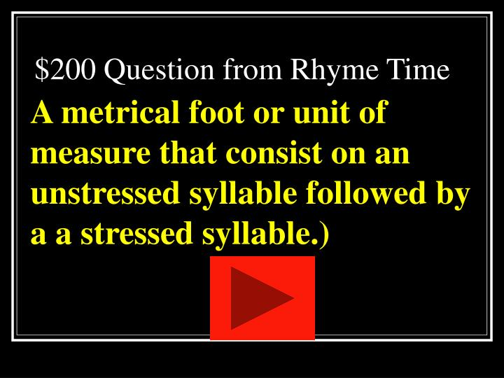 $200 Question from Rhyme Time