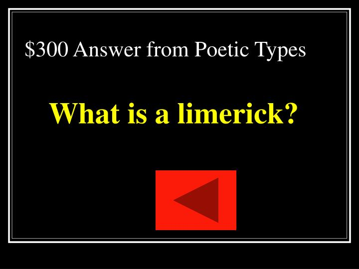 $300 Answer from Poetic Types