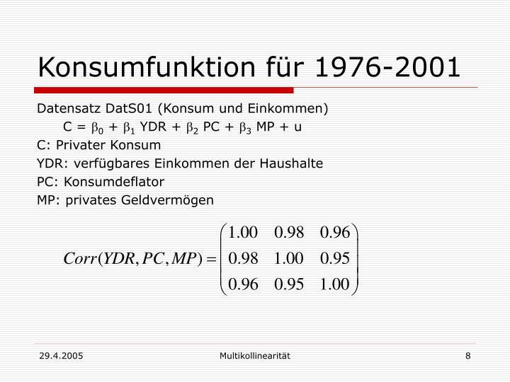 Konsumfunktion für 1976-2001