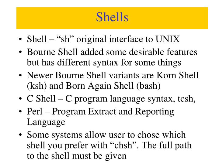 "Shell – ""sh"" original interface to UNIX"