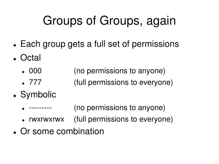 Groups of Groups, again
