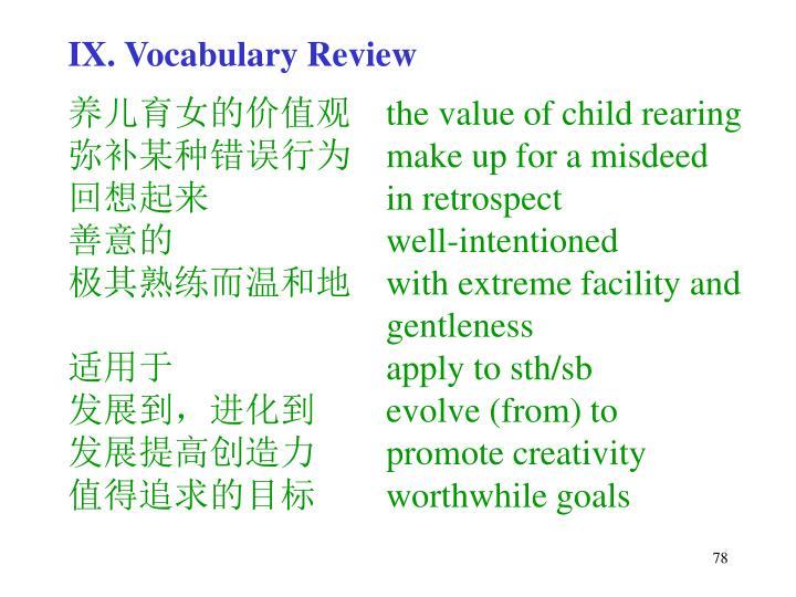 IX. Vocabulary Review